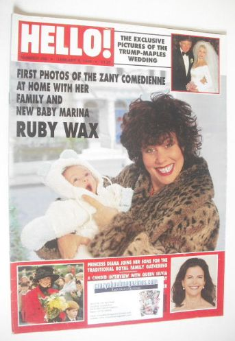 <!--1994-01-08-->Hello! magazine - Ruby Wax and Baby Marina cover (8 Januar