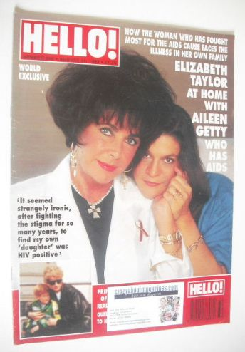 <!--1993-08-14-->Hello! magazine - Elizabeth Taylor and Aileen Getty cover