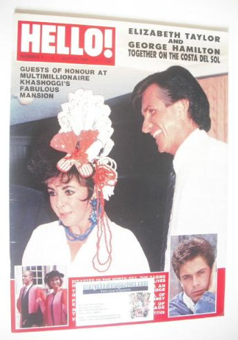 <!--1988-07-16-->Hello! magazine - Elizabeth Taylor and George Hamilton cov