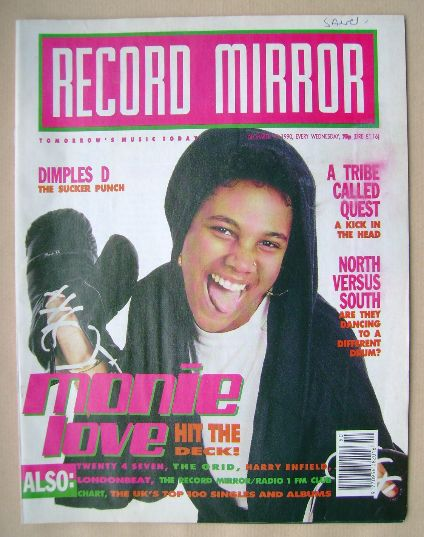 <!--1990-12-15-->Record Mirror magazine - Monie Love cover (15 December 199