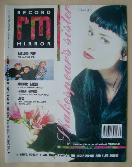 <!--1989-08-05-->Record Mirror magazine - Siobhan Fahey cover (5 August 198