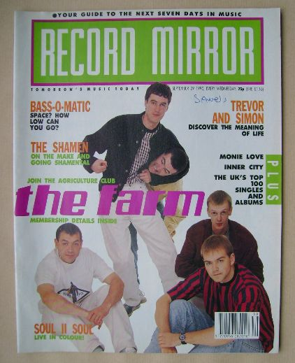 <!--1990-09-29-->Record Mirror magazine - The Farm cover (29 September 1990