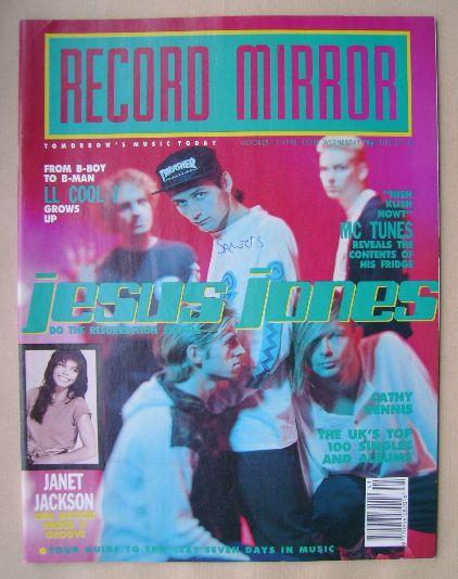 <!--1990-10-13-->Record Mirror magazine - Jesus Jones cover (13 October 199