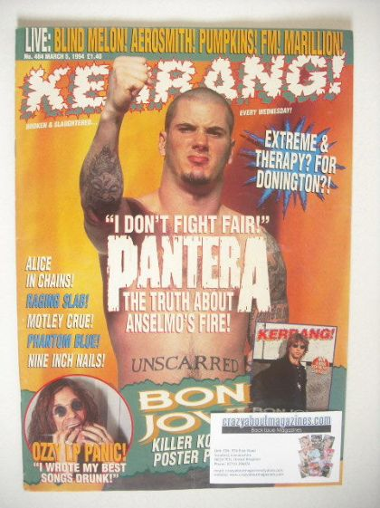 <!--1994-03-05-->Kerrang magazine - Phil Anselmo cover (5 March 1994 - Issu