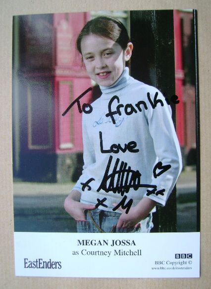 Megan Jossa autograph (hand-signed EastEnders cast card)