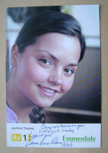 Jenna-Louise Coleman autograph (hand-signed Emmerdale cast card)