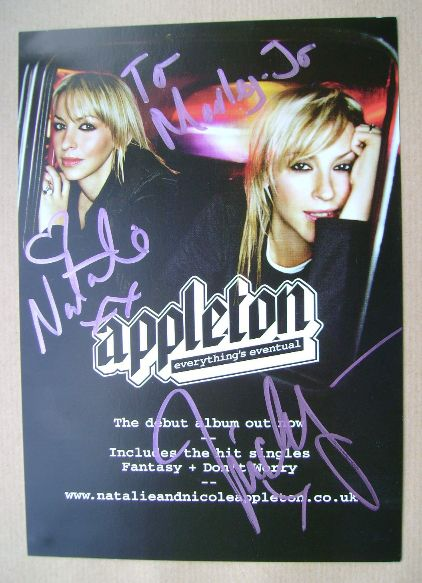 Nicole Appleton and Natalie Appleton autographs