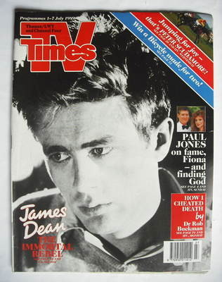 <!--1989-07-01-->TV Times magazine - James Dean cover (1-7 July 1989)