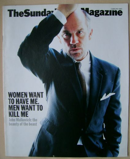 <!--2000-01-09-->The Sunday Times magazine - John Malkovich cover (9 Januar