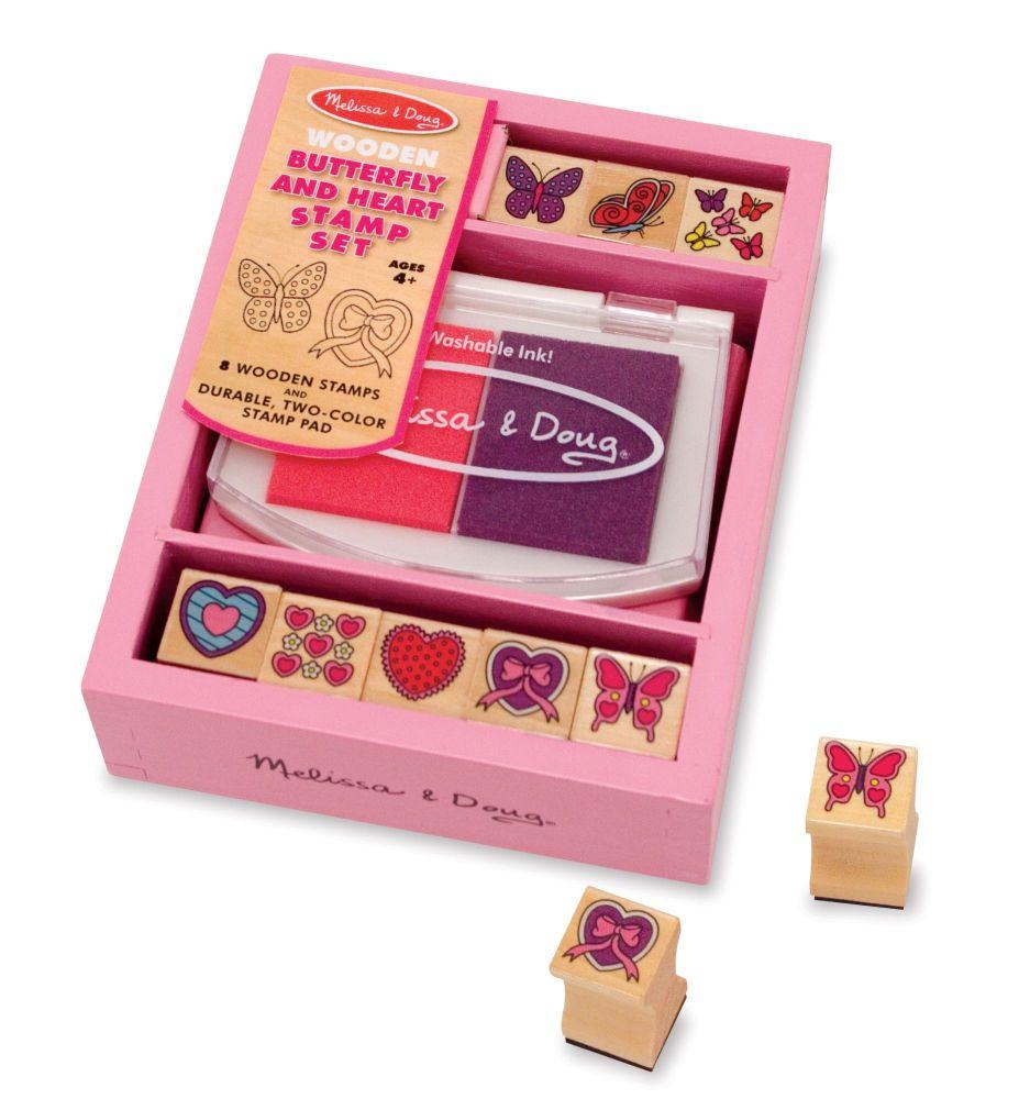Wooden Stamp Set - Butterflies & Hearts
