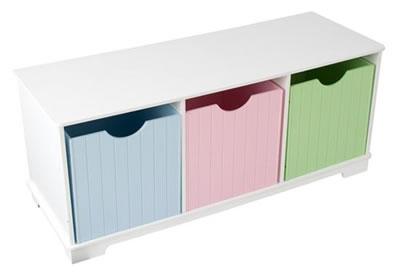 White Storage Bench with Pastel Bins