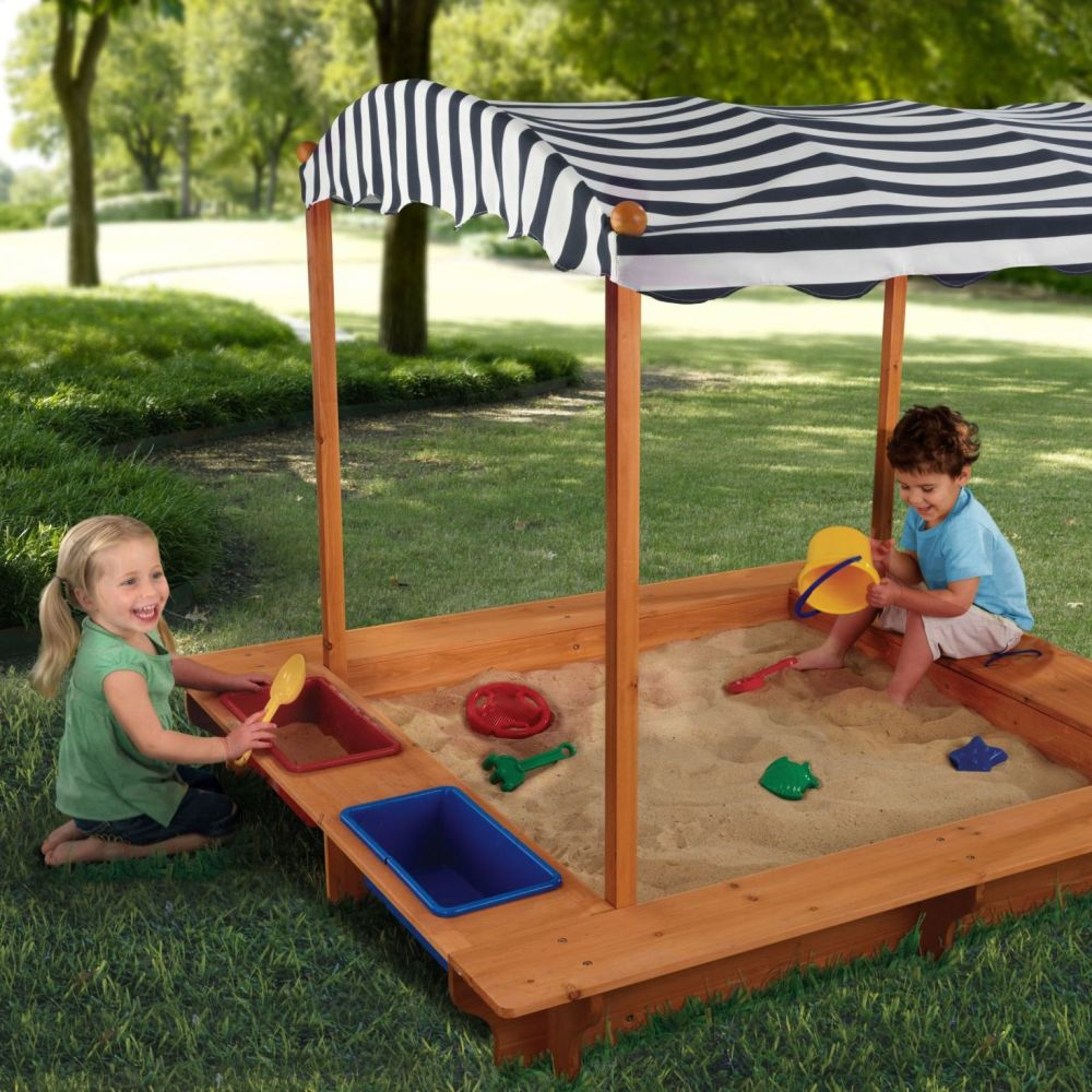 Outdoor Sandbox with Canopy - Navy & White