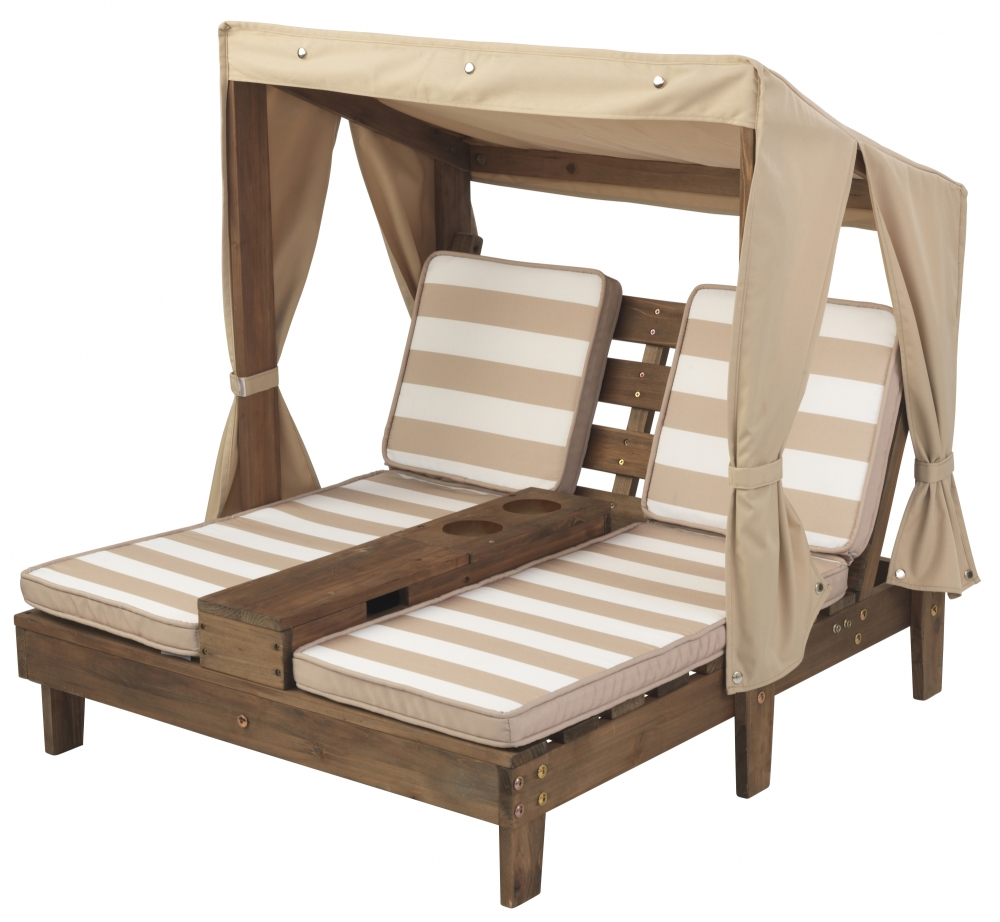 Kids Double Chaise Lounge - Espresso & Oatmeal