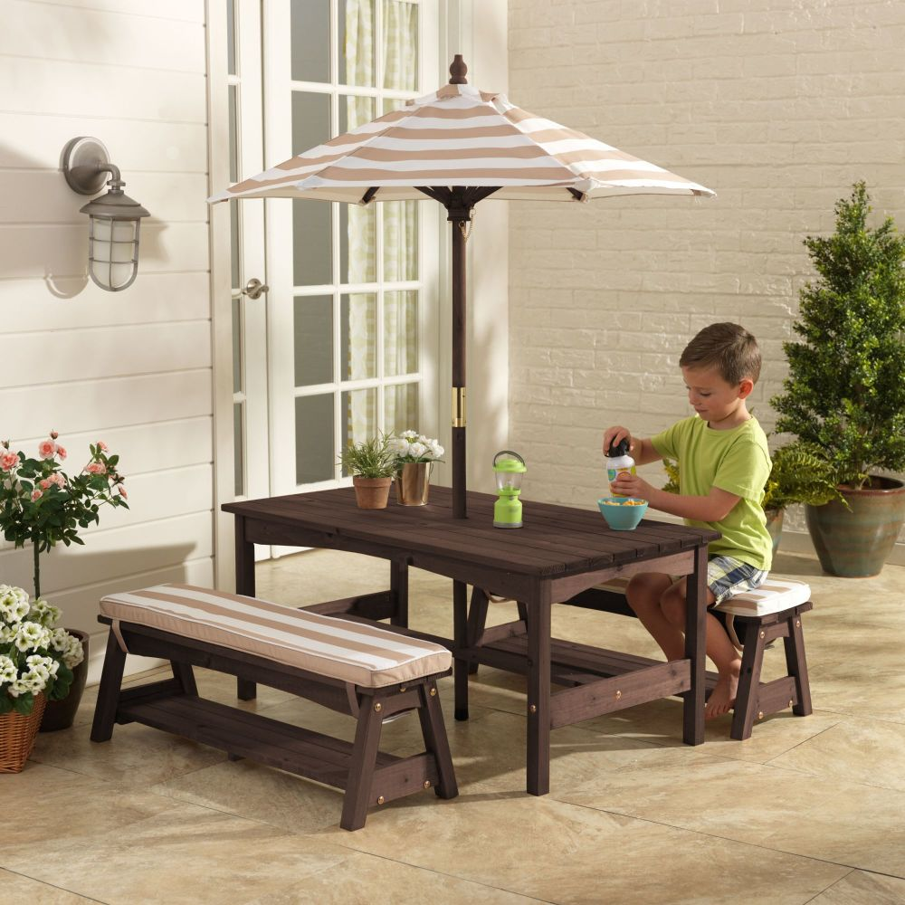 Kids Outdoor Table & Bench Set with Cushions & Umbrella - Oatmeal & White Stripes