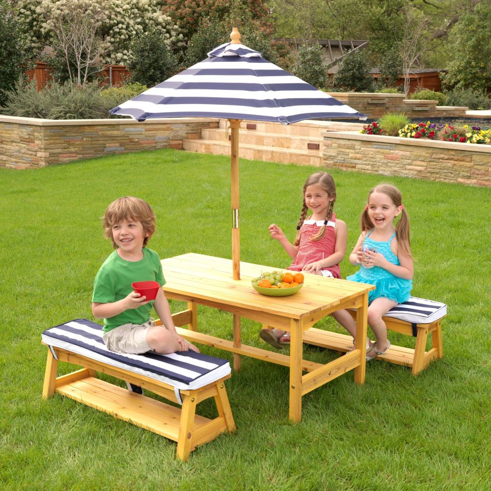 Kids Outdoor Table & Bench Set with Cushions & Umbrella - Navy & White Stripes