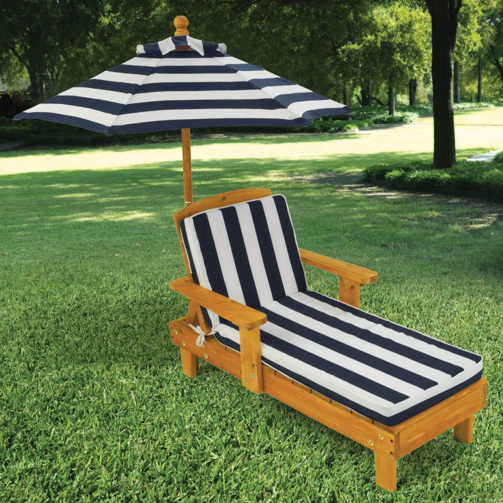 Kids Outdoor Chaise Lounge with Umbrella - Navy