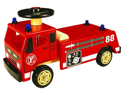 Ride-On Wooden Fire Engine
