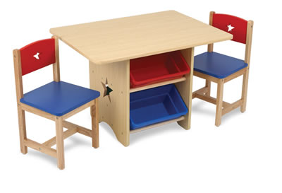 Star Table & Chair Set With Storage