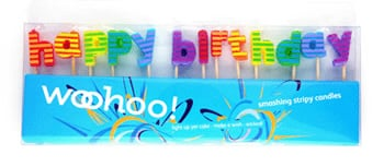 Striped Birthday Letter Candles