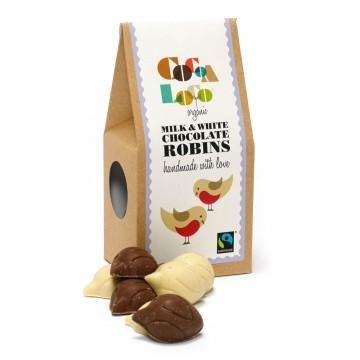 Cocoa Loco Chocolate Shapes, Robins, from the RSPB