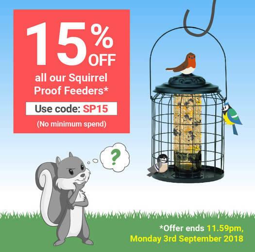 Get 15% off Squirrel Proof Feeders at Garden Wildlife Direct