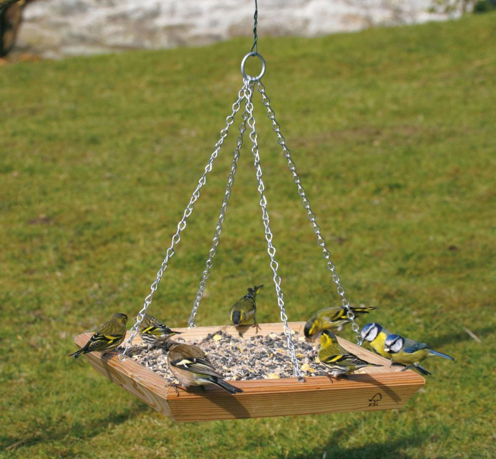 C J Wild Bird Square Hanging Feeding Bird Table