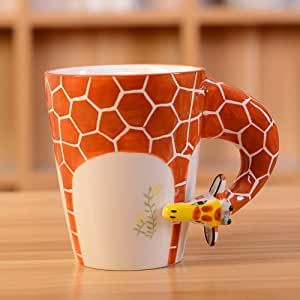 HapiLeap 3D Pure Hand-Painted Cute Animal Ceramic Coffee Mug Coffee Cup (Giraffe)