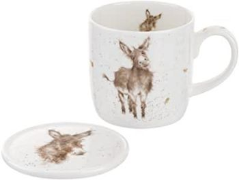 Wrendale by Royal Worcester Mug and Coasters Gentle Jack Donkey, Multi-Colour