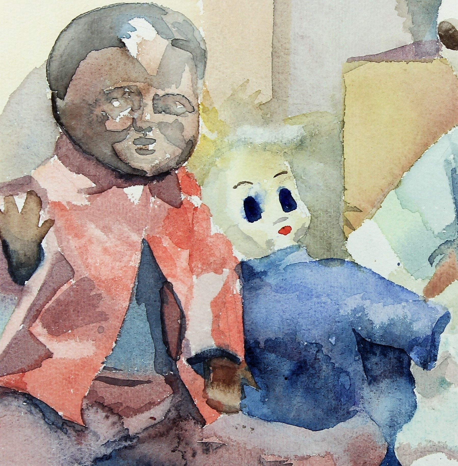 detail of Heili's dolls, watercolour