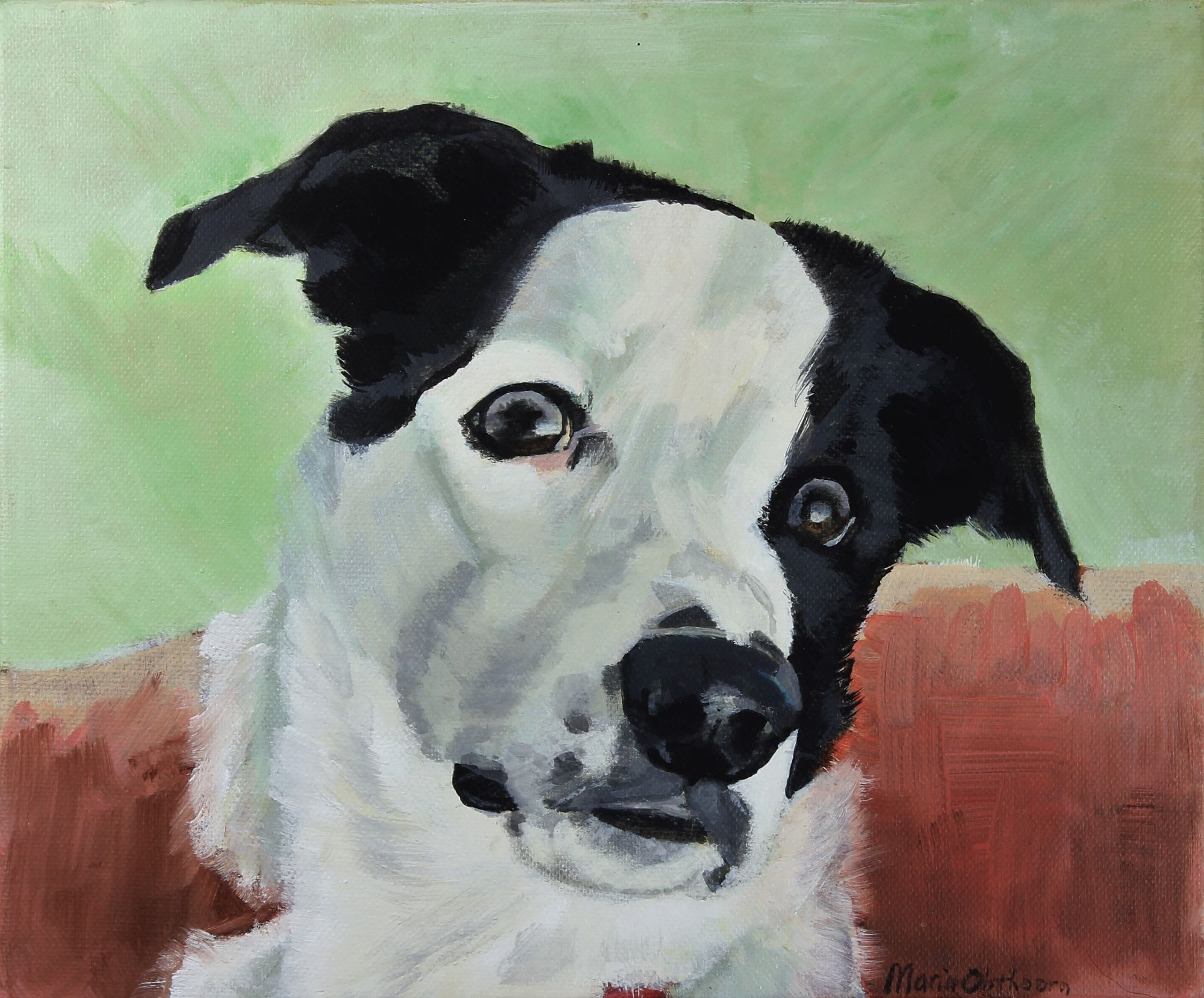 Harvie, pet portrait. Acrylics on canvas