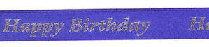 15mm Happy Birthday Ribbon 12781- Blue