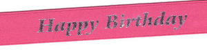 15mm Happy Birthday Ribbon 12781 - Pink 8
