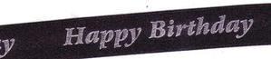 15mm Happy Birthday Ribbon 12781 - Black 2