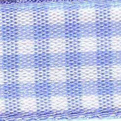 25mm Check Ribbon - Small Pale Blue 7391-3