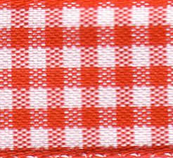 25mm Check Ribbon - Small Red 7391-15