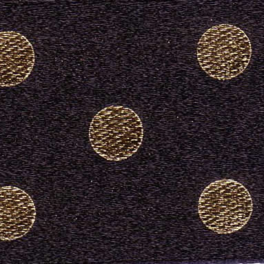 25mm Spotty Ribbon Black & Gold 12788-1