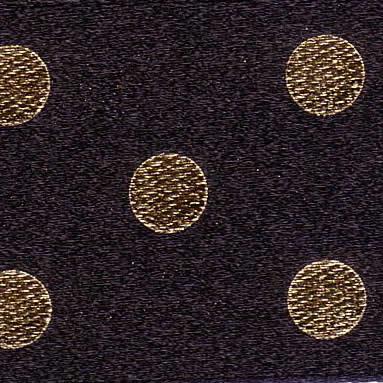 25mm Spotty Ribbon Black & Gold 12788-1