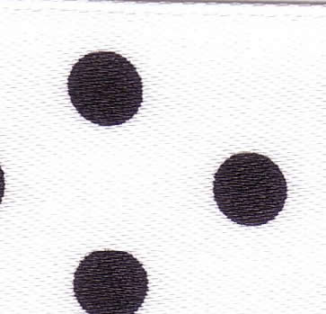25mm Spotty Ribbon White with Black 12251-1