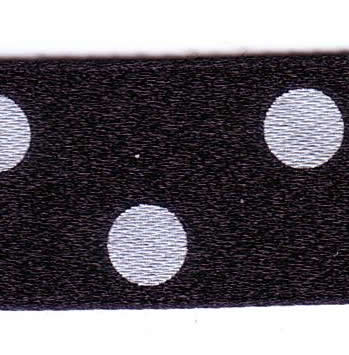 15mm Spotty Ribbon - Black with White Spots 12251-10