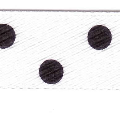 15mm Spotty Ribbon White with Black 12251-1