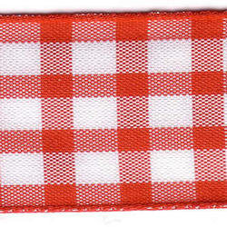 25mm Red & White Check Ribbon (Large Check) 1141-15