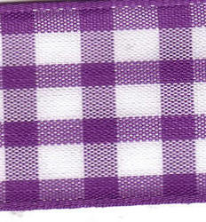 25mm Purple & White Check Ribbon (Large Check)- 1141-19