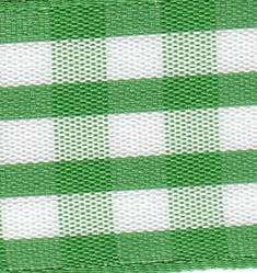 25mm Green & White Check Ribbon (Large Check) - 1141