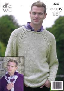 3260 Knitting Pattern - Chunky (Mens)*