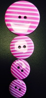 Buttons - Striped Hot Pink 227 P1725