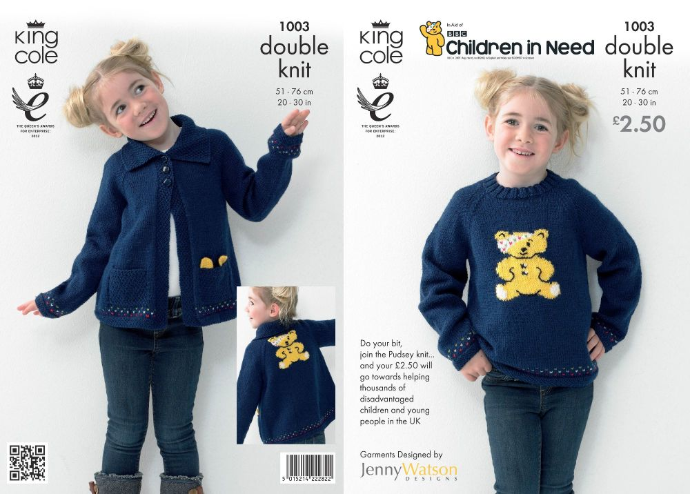 1003 Children in Need Knitting Pattern DK - Childs Jumper/Cardigan 20 - 30