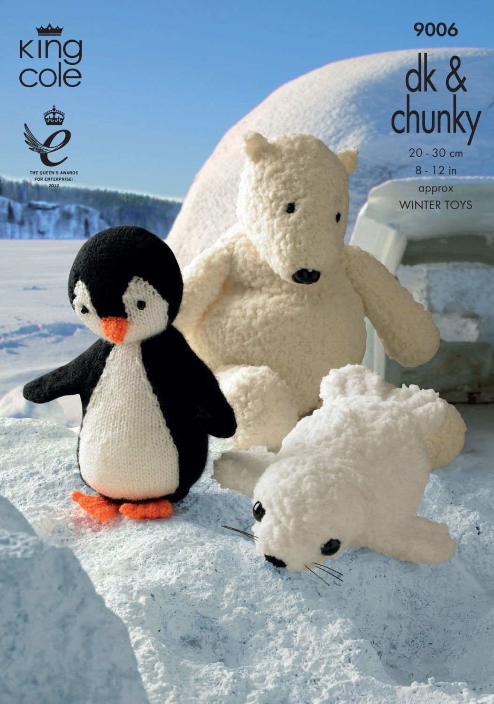 9006 Knitting Pattern - Penguin, Seal & Polar Bear Toys