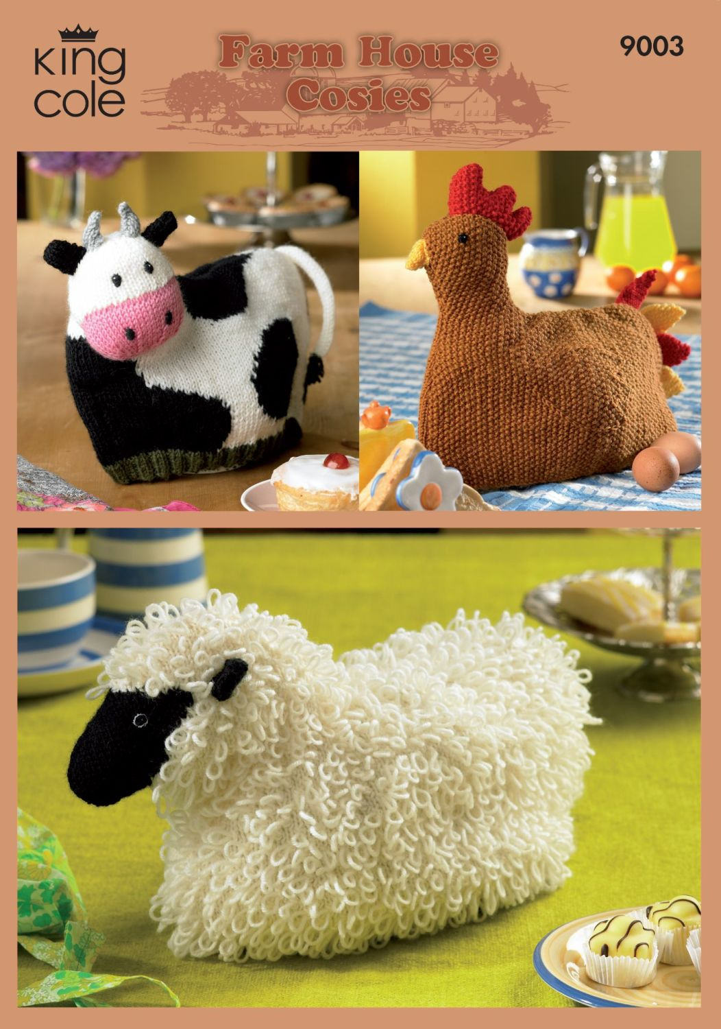 9003 Knitting Pattern - Farm House Cosies (Tea Cosy)