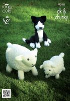 9010 Knitting Pattern Double Knit - Sheep, Lamb and Sheepdog Toys