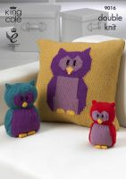 9016 Knitting Pattern - Owl Cushion Cover, Owl Doorstop & Owl Toy